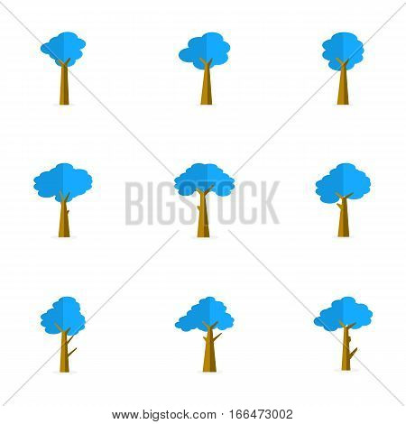 Illustration of tree set vector flat collection stock