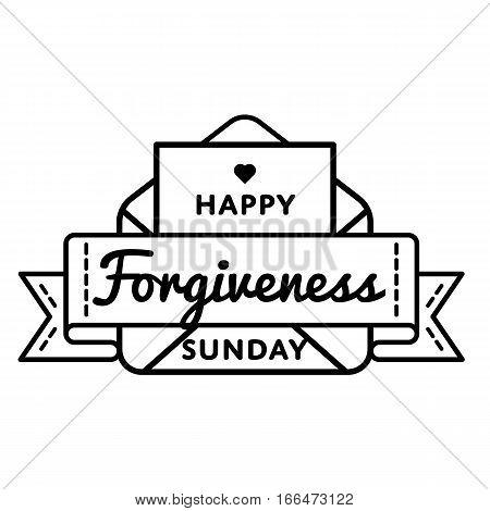 Happy Forgiveness Sunday emblem isolated vector illustration on white background. 26 february world orthodox holiday event label, greeting card decoration graphic element