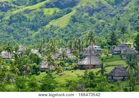 Aerial view of Navala village in the Ba Highlands of northern-central Viti Levu Fiji. It is one of the few settlements in Fiji which remains fully traditional architecturally. poster