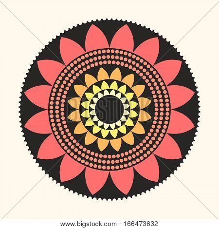 Vector Flat Design Lotus Mandala Illustration Symbol