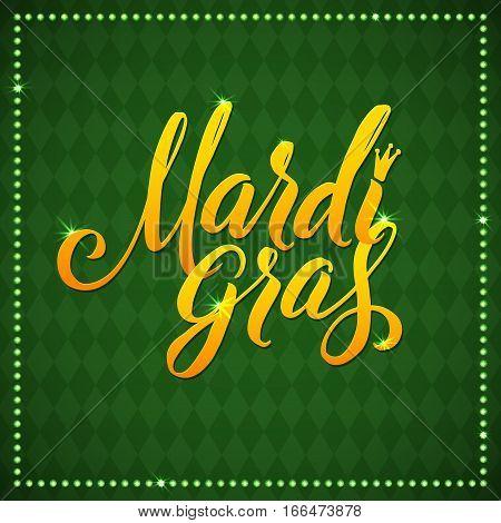 Mardi Gras Carnival Calligraphy Poster on green diamond background. Vector illustration.a Mardi Gras type treatment.