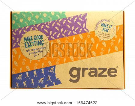 SWINDON UK - JANUARY 24 2017: New 2017 Snackspiration Graze Box by graze.com snacking reinvented healthy snacks delivered to your door or work place