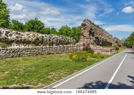 Ruins of the fortifications of the ancient Roman city of Diocletianopolis, town of Hisarya, Plovdiv Region, Bulgaria