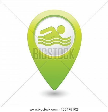 Map pointer with swimmer icon. Vector illustration