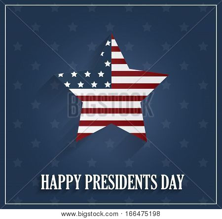 Presidents day poster with striped star on blue background. Vector illustration.
