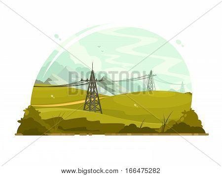 Power lines electricity. Metal poles for electrical wiring. Vector illustration