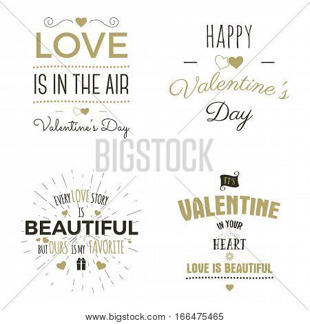 Set of Valentine day typography photo overlays, inspirational text and sun bursts. Valentine day labels. Custom quotes isolated on white background. Best for gift card, brochure. Stock vector.
