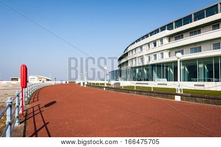 MORECAMBE, UK - 4 MARCH 2011: The rear of The Midland Hotel Morecambe Lancashire in the North West of England facing the promenade and seafront. The Art Deco building is a key landmark in the seaside town.