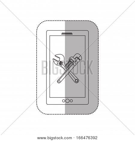 grayscale middle shadow sticker with cellphone with crossed wrenches in display vector illustration