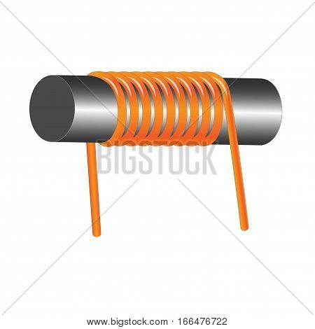 Electronic component inductor coil on white background