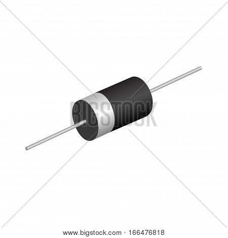 Electronic component diode on a white background