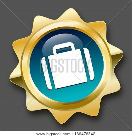 Travel seal or icon with luggage symbol. Glossy golden seal or button