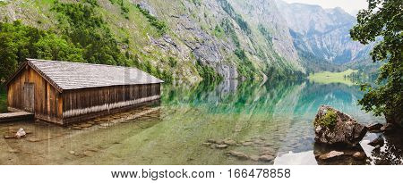 Panoramic View Of Obersee Lake With Clear Green Water And Reflection, Konigssee National Park, Berch