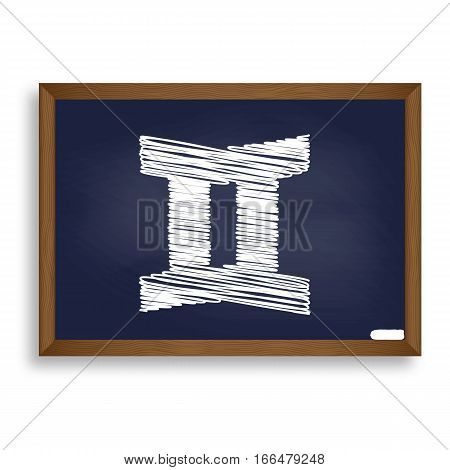 Gemini Sign. White Chalk Icon On Blue School Board With Shadow A