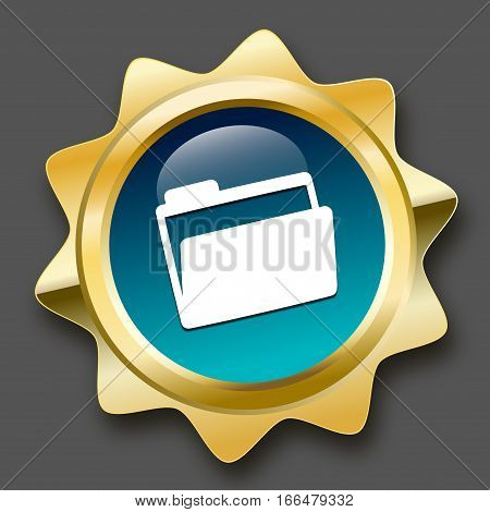 Document seal or icon with file symbol. Glossy golden seal or button.