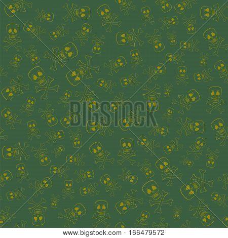 Skull Cross Bones Seamless Pattern Isolated on Green Background