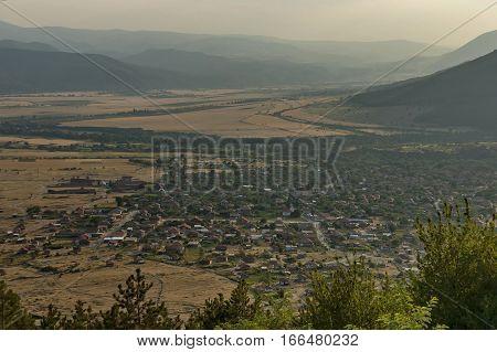 Residential district of bulgarian houses in Karlovo valley between  Central Balkan mountain, Beklemeto or Trojan pass and Sredna gora mountain, Bulgaria