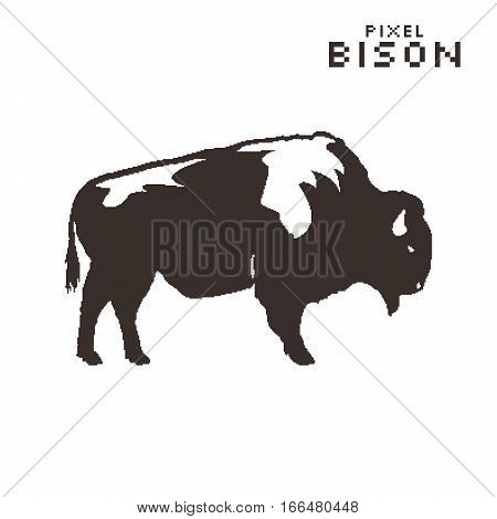 Vector pixel art bison on a white background. Silhouette retro style.