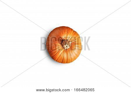 Top view on orange fresh classic pumpkin isolated on pure white background