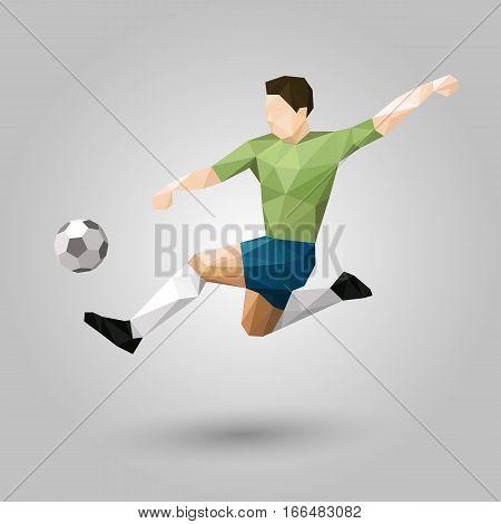 geometric soccer player jumping kick design on gray background
