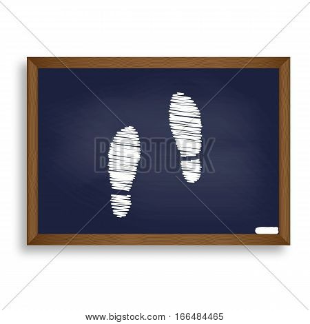 Imprint Soles Shoes Sign. White Chalk Icon On Blue School Board