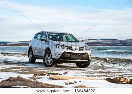 Khabarovsk, Russia - December 7, 2013: Toyota Rav 4 worth in winter on the coast