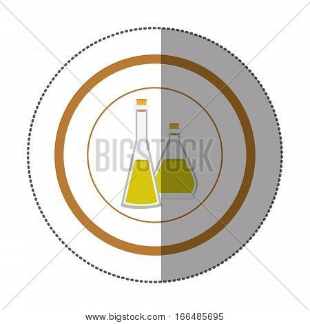 sticker circular shape with glass jars with cork stoppers vector illustration