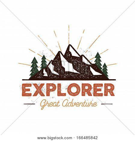Outdoor explorer badge. Retro illustration of outdoor explorer label. Typography and roughen style. Outdoor explorer logo with letterpress effect. Inspirational text. Outdoor explorer stock vector.
