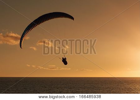 Paraglider flying at sunset over the ocean