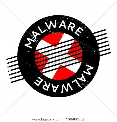 Malware rubber stamp. Grunge design with dust scratches. Effects can be easily removed for a clean, crisp look. Color is easily changed.