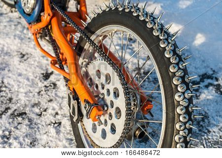Wheel with spikes of an ice speedway motorbike