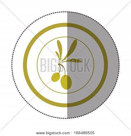 sticker circular with branch with leaves and fruits shading vector illustration
