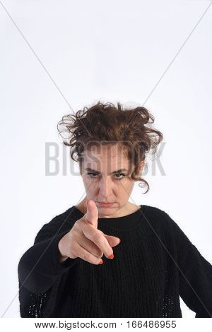 a Woman scolding on a white background