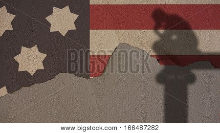 Thinker Shadow on Usa Flag and Grey Cracked Concrete Wall