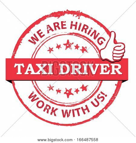 We are hiring Taxi drivers -  printable stamp / label. CMYK colors used