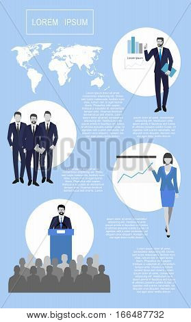 success in business, concept is something.  Financial charts theme elements. An vector illustration of a faceless male pointing at a graph. orator speaking from the tribune.