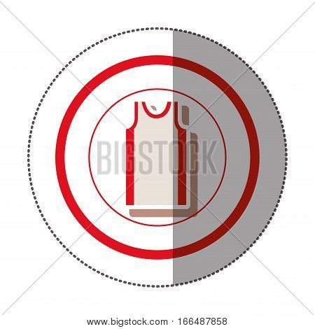 sticker with circular shape of colorful basketball t-shirt vector illustration