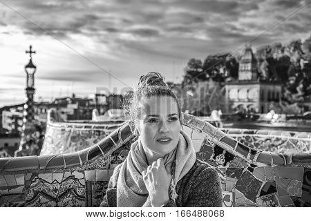 Tourist Woman At Guell Park In Barcelona Looking Into Distance