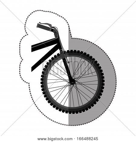sticker colorful front part bicycle in closeup vector illustration