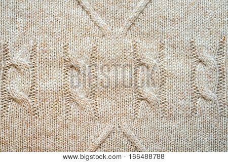 Knitted Background Pattern With Braids And Rhombus, Wool Neutral Beige Color.