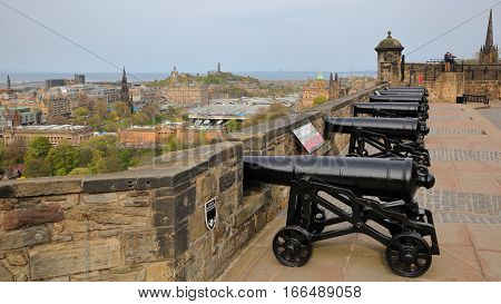 EDINBURGH, SCOTLAND - MAY 6, 2016: Argyle Battery at  Edinburgh Castle