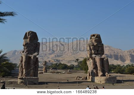 Attractions of the Ancient Egypt. The group of Sphinxes.