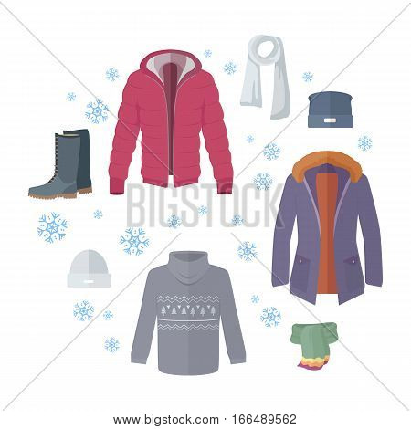 Big winter sale. Winter outerwear sale web banner poster. Winter old collection sale. Discount on stylish fashionable designers clothes. Best world brands trends at low price. Christmas sale. Vector