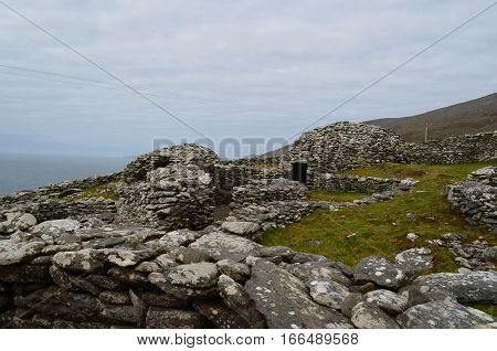 Clochan beehive hut village on the Slea Head Penninsula in Ireland.