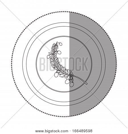 silhouette sticker circular with branch with multiple leaves vector illustration