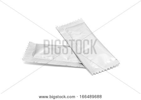 blank packaging sugar foil sachet isolated on white background with clipping path