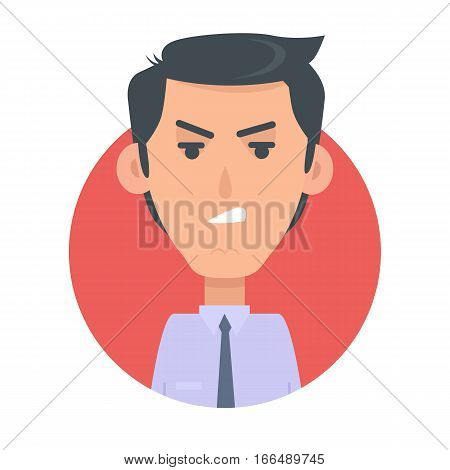 Angry man avatar web button. Wicked male emotion avatar. Unkind emotion face, feelings, emotional intelligence expression. Evil businessman character in flat style. Angry person. Vector illustration