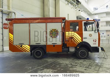 Kiev Ukraine - September 22 2015: A new fire engine in the specialized exhibition