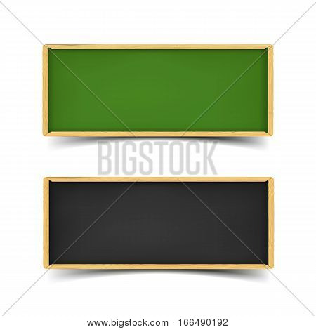 School board banner set. Realistic vector illustration of green and black boards with chalk and wooden borders. Horizontal web banners with shadow isolated on white background.