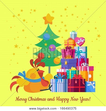 Merry Christmas and Happy New Year card for winter holidays. Chinese calendar zodiac horoscope. Symbol of new year cock, presents, Christmas tree. For greeting postcard. Flat style vector illustration